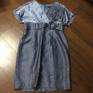 ADRIANNE PAPELL SILK BLUE MOTHER OF BRIDE DRESS L